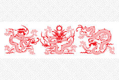 smok chińska czerwień ilustracji