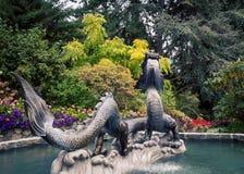 Smok fontanna w parku fotografia stock