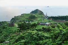 Smok głowa w cieniu przy Yongmeori wybrzeżem, Ro, Jeju wyspa, Południowy Korea Zdjęcie Stock