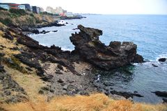 Smok głowy skały wybrzeża linia obrazy royalty free