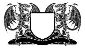 Smok heraldyki grzebienia żakiet ręki osłony emblemat ilustracja wektor