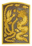 Smok i łabędź rzeźbiliśmy wzór na drewnianej teksturze Obraz Royalty Free