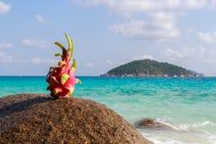 Smok owoc na piasku przeciw turkus wodzie Similan wyspy Tajlandia Tropikalny wakacje pojęcie Fotografia Stock