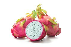 Smok owocowy Pitaya, Pitahaya na bielu Obrazy Stock