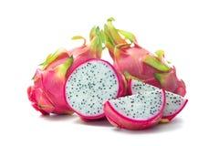 Smok owocowy Pitaya, Pitahaya na bielu Zdjęcie Stock