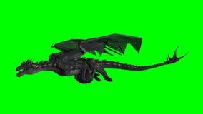 Smok w locie - zielony ekran Obrazy Royalty Free