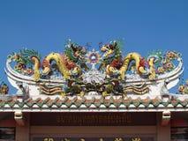 Smoka Chińskiego stylu dachu dekoracja Zdjęcie Stock