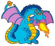 smoka duży błękitny ogień Fotografia Royalty Free