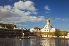 smoka fontanny złota peterhof samson statua Fotografia Stock