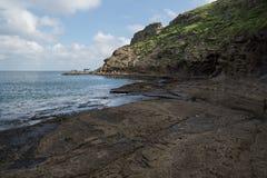 Smoka kierowniczy widok od Yongmeori plaży, Ro, Jeju wyspa, Południowy Korea Fotografia Royalty Free