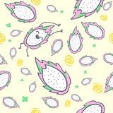 Smoka owocowy bezszwowy wzór, postać z kreskówki, śliczny kawaii pitaya, wektorowa ilustracja Obraz Royalty Free