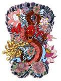 Smoka, Phoenix pożarniczy ptak z i kwitnie, czereśniowy okwitnięcie, brzoskwini okwitnięcie na obłocznym tle royalty ilustracja