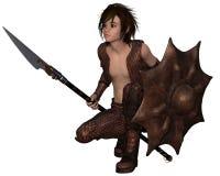 Smoka wojownika chłopiec - Kucający Zdjęcie Royalty Free