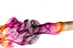 Smoke. Colored smoke isolated  on a white background Royalty Free Stock Photo
