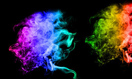 Smoke. An interesting smoke spiral pattern in rainbow colours Stock Photos