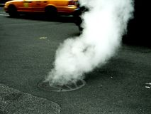 Smoke. Photo of a street in New York stock photography