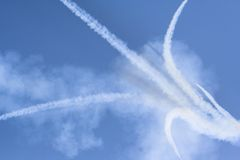 Smoke. From simulated airplane collision Stock Image