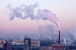 The smoke above the city in the cold Royalty Free Stock Images