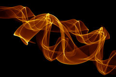 Smoke Abstract Background. Yellow smoke abstract background on black Stock Photo
