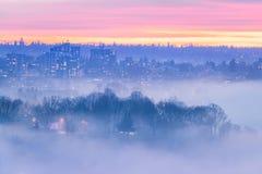 Smoke across city. At Vancouver BC Canada royalty free stock photos