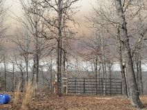 Smoke in the air. 2300 Acres of Woodlands burned in Arkansas the ominous Sky looms above purple Skies royalty free stock photos
