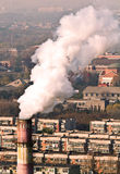 Smoke and air pollution in residental block Stock Photo