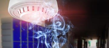 Composite image of smoke alarm. Smoke alarm against purple lockers in corridor vector illustration