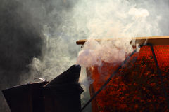Smoke on the apiary Royalty Free Stock Photo
