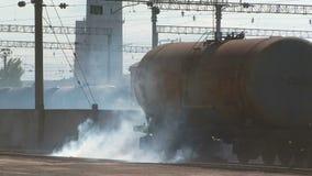 Smoke Around Tank At Railway Station stock video