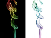 Smoke art. Colorful smokes on black and white backgrounds Stock Photo