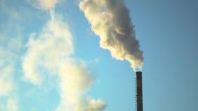 Smoke atmosphere emission. Blue sky stock video