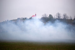 Smoke on the battlefield, Battle of Three Emperors, Austerlitz,. Tvarozna, Czech republic Royalty Free Stock Images