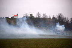 Smoke on the battlefield, Battle of Three Emperors, Austerlitz,. Tvarozna, Czech republic Royalty Free Stock Photography
