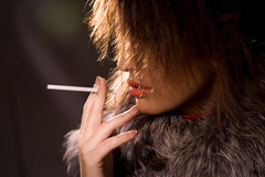 Smoke on the beauty Stock Photography