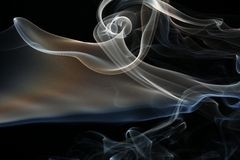 Smoke on black. Amazing wide smoke shape on black background Stock Photos
