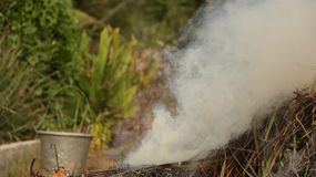 Smoke from Burnt Straw in Garden with Vintage Steel Bucket royalty free stock photos