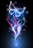 Smoke and butterfly. Glowing background with smoke, stars and butterfly Royalty Free Stock Photo