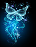 Smoke and butterfly. Glowing background with smoke, stars and butterfly Royalty Free Stock Image