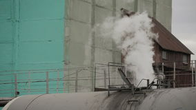 Smoke from the car of a train. Smoke of the wagon train. Descent couple stock footage