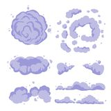 Smoke or cartoon dust. Set vector flat vector. stock illustration
