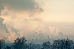 Smoke on the chemical factory Royalty Free Stock Photo
