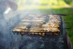 Smoke chicken in grates Stock Photography