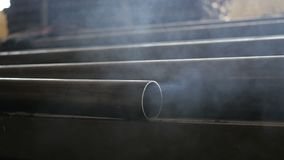 The smoke from the chimney. The smoke of an iron pipe stock video footage