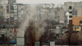 Smoke from the Chimneys. In Urban Slums stock video