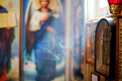 Smoke in the church. Background. Smoke in the church. Light from window Stock Photos