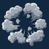Smoke cloud Explosion. Dust puff cartoon frame vector. Smoke cloud Explosion. Dust puff cartoon frame, dusty bubble comic flat style. Vector Royalty Free Stock Photography