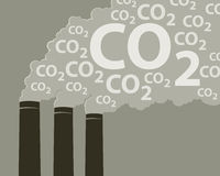 Smoke with CO2. An illustration of smoke stacks burning fossil fuels Royalty Free Stock Photo