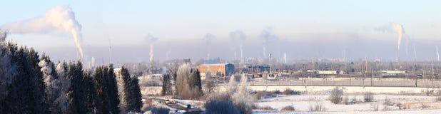 Smoke cold city winter Stock Photography