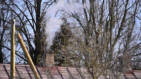 Smoke coming out of chimney from the country house with metal roof in the forest stock footage