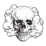 Smoke coming out of fleshless skull, death, mortal habit concept. Black and white sketch style vector illustration isolated on background Stock Photography